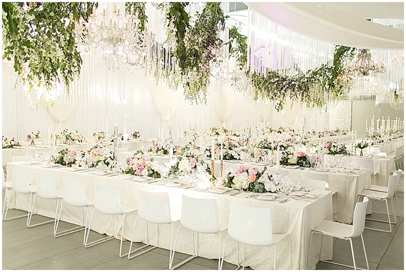 luxury wedding reception floral garlands fringe curtains cavalli estate wedding concepts