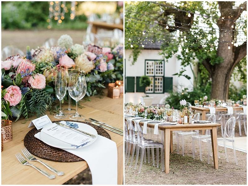 Fairy light outdoor wedding reception