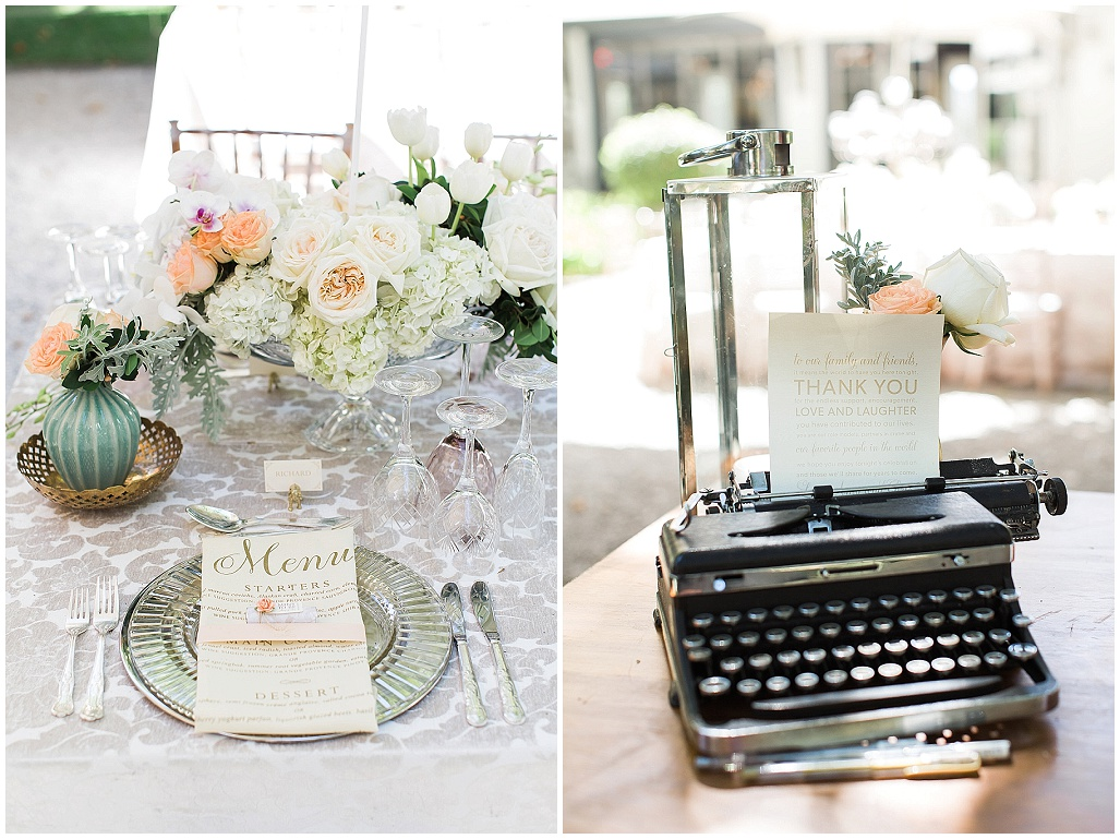personalised wedding menu, vintage wedding typewriter
