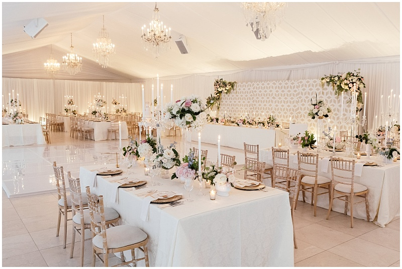 Luxuriously draped wedding reception and custom made bridal panels