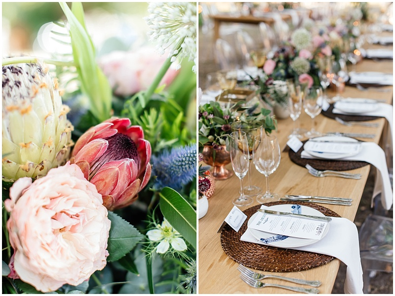 Local South African Protea inspired wedding decor