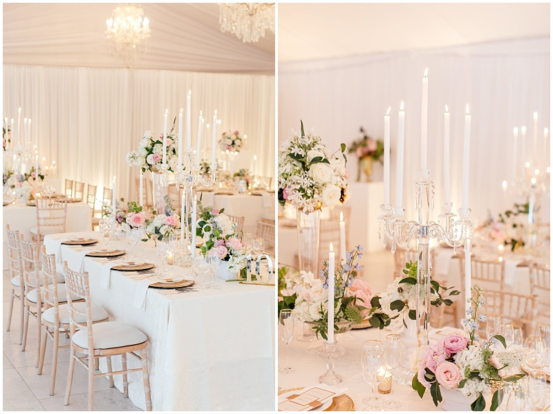 Crystal candelabra lit candles at blush summer wedding reception