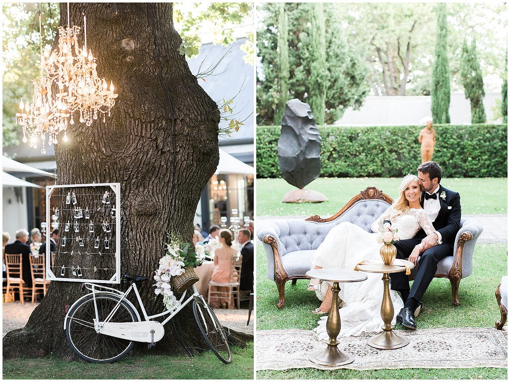 styled lounging with vintage bicycle and chandelier