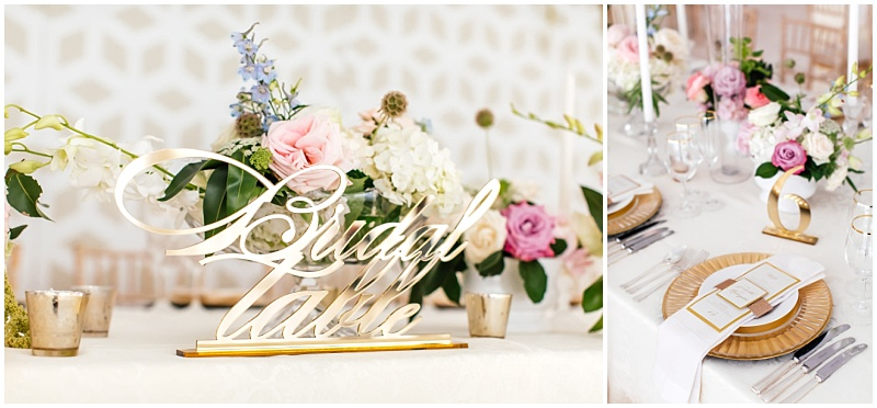 Bridal Table gold lasercut table sign