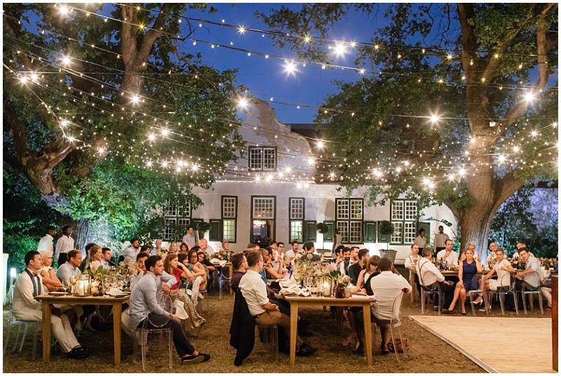 Al fresco wedding reception dining