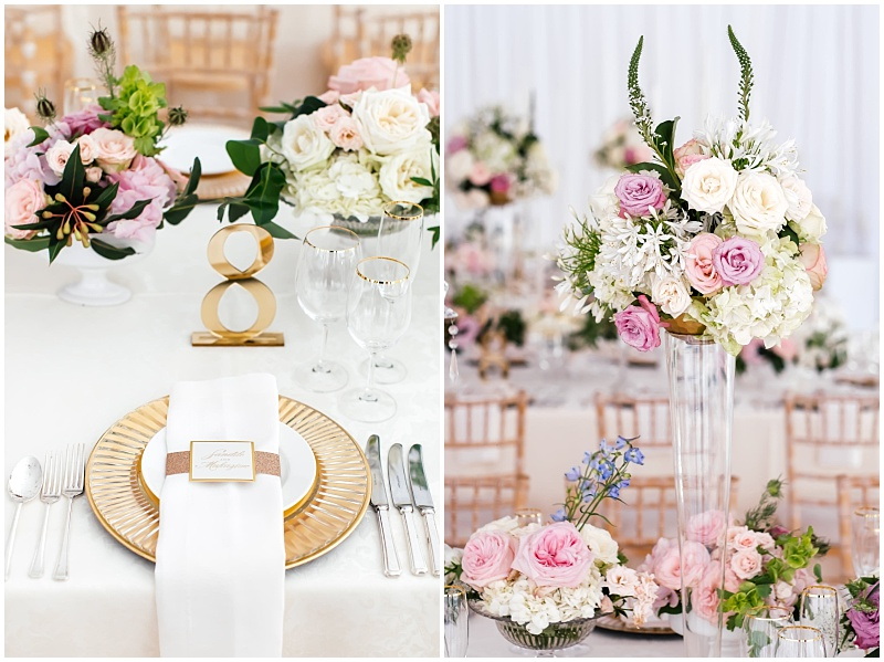 Gold and blush wedding reception