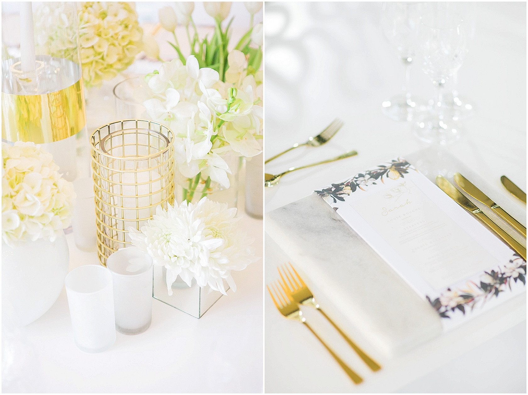 White and gold wedding details