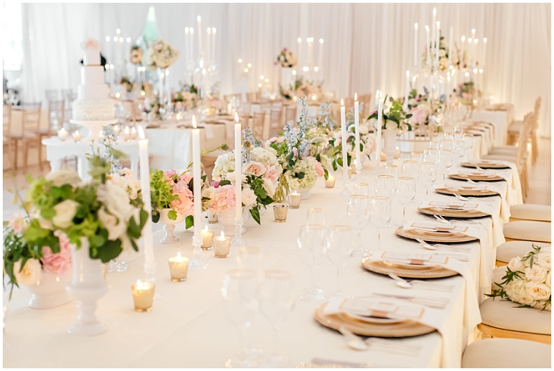Romantic candle lit gold blush wedding reception