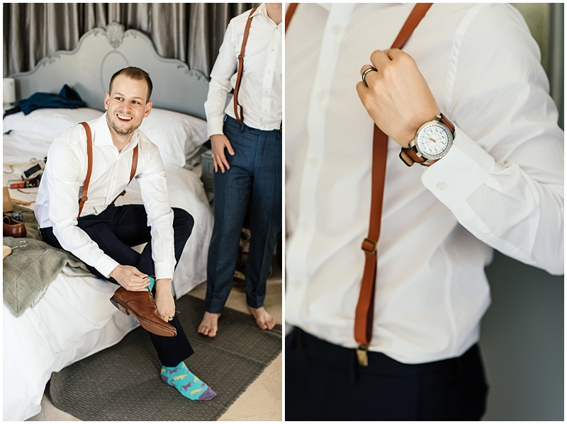 Groom's leather suspenders and watch