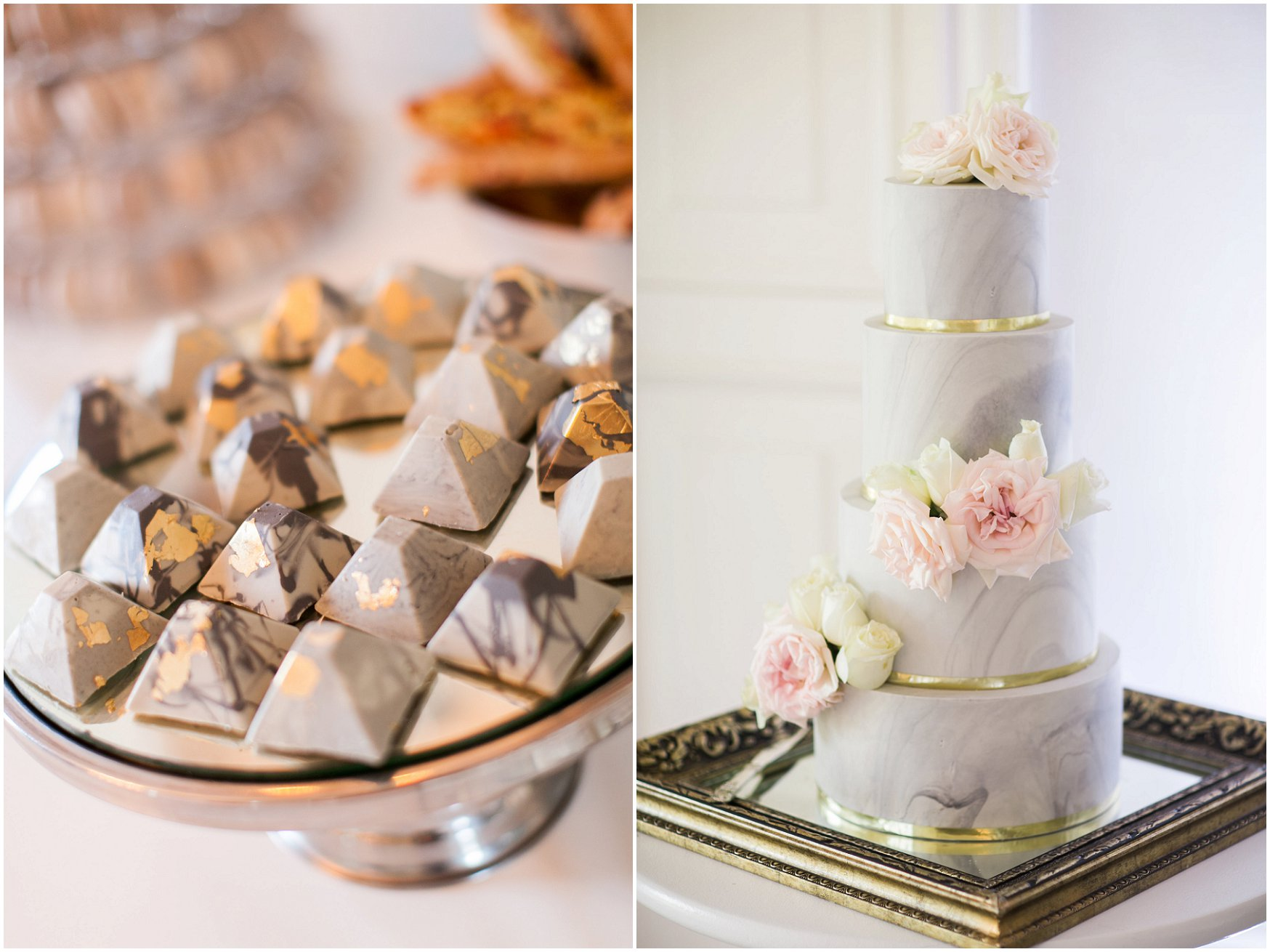 marble wedding desserts and cake