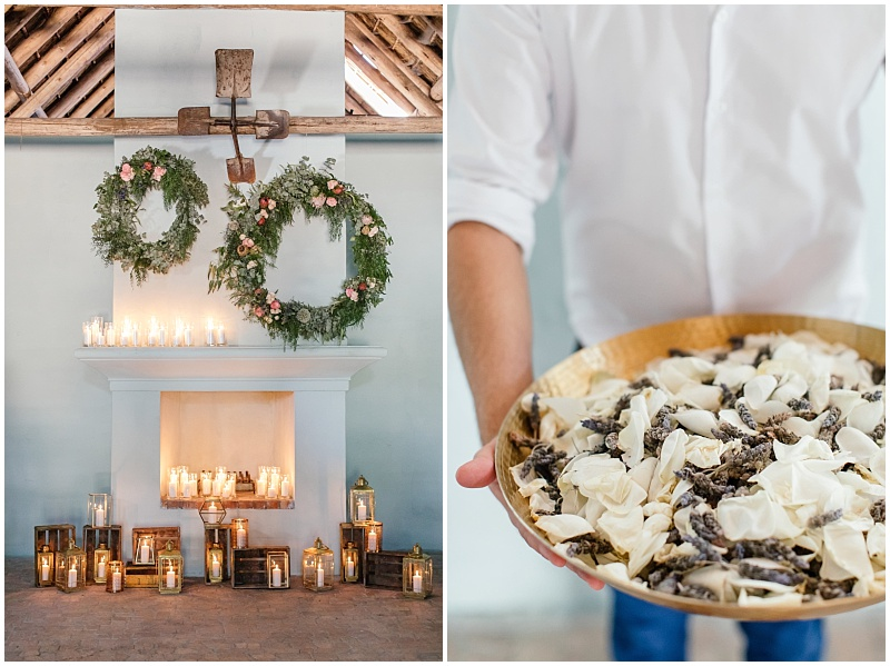 Rustic barn with candles ceremony location
