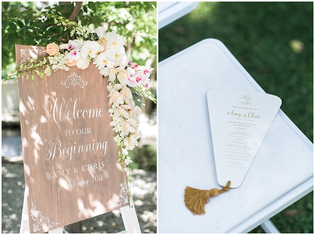 Wedding signage with florals, order of service fan