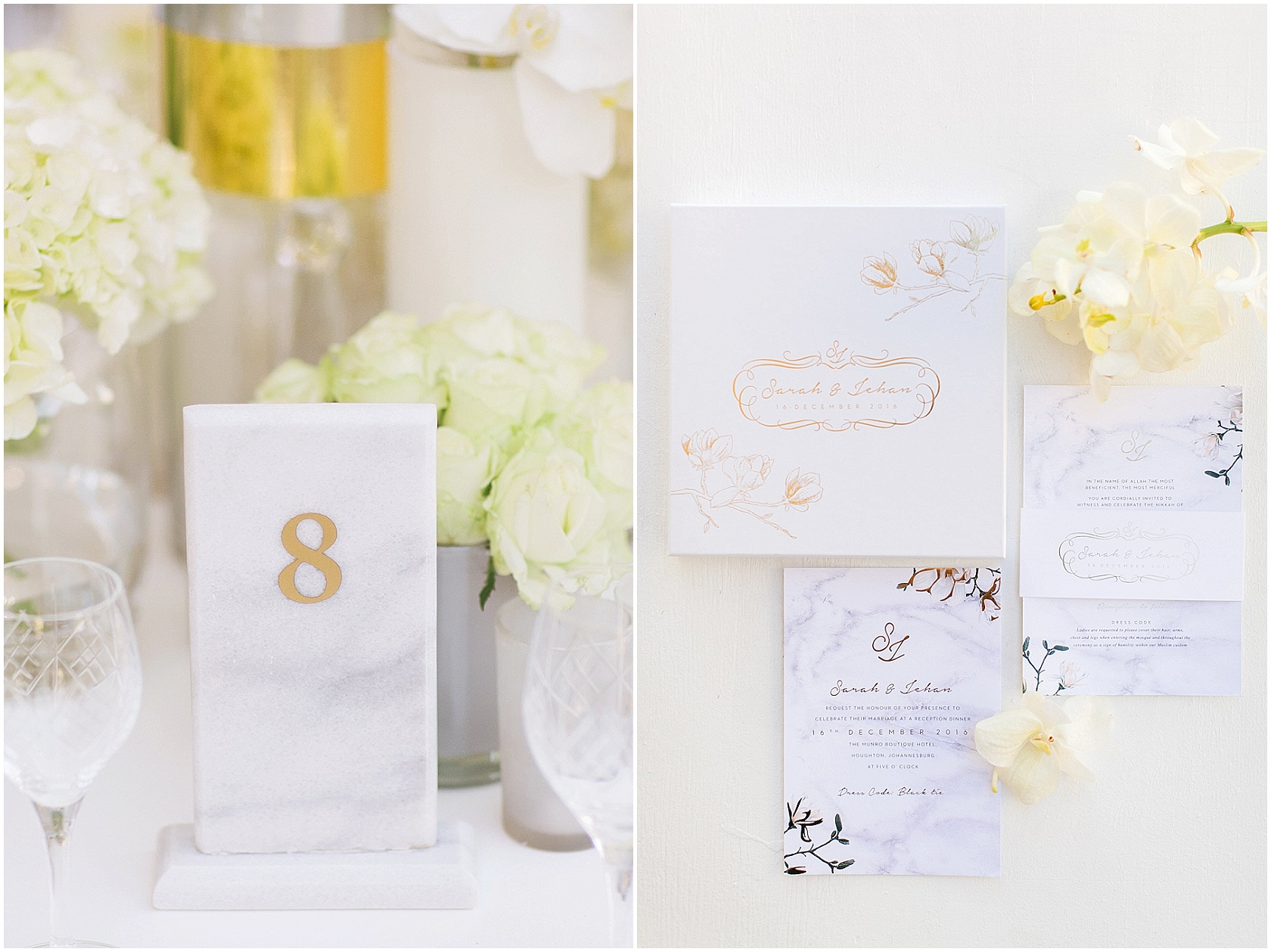 Marble and Gold wedding stationery