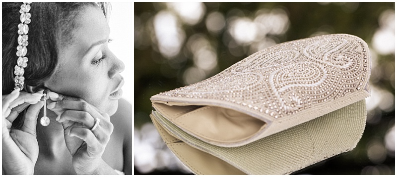 bridal earrings and clutch