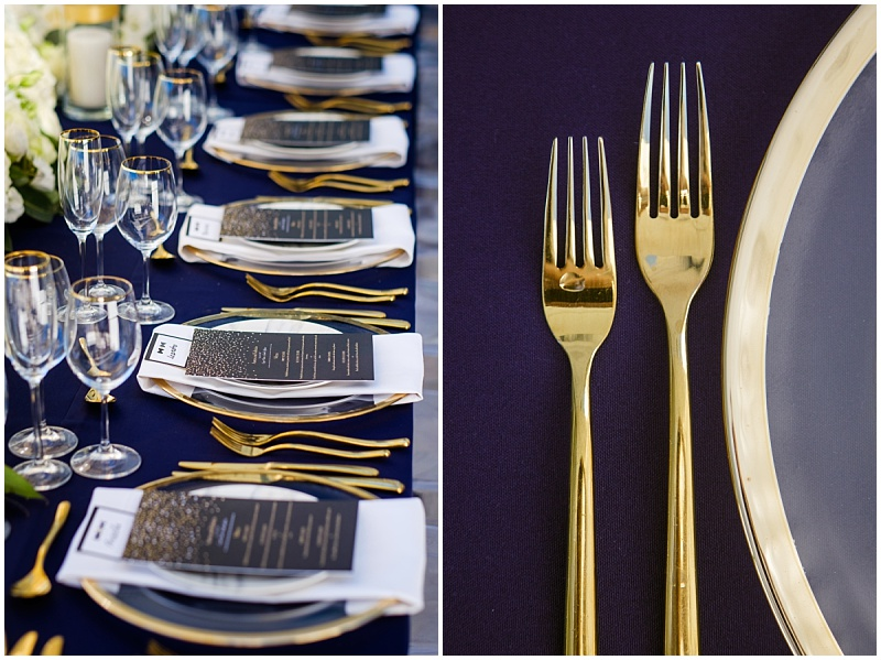 Gold crockery with table decor
