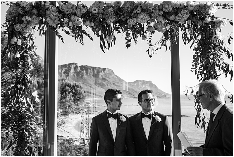 Table mountain backdrop wedding ceremony