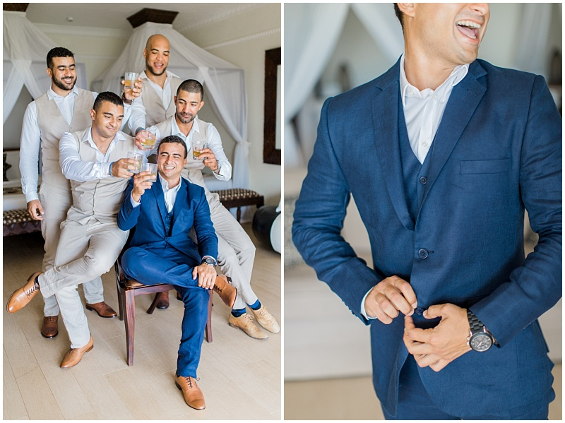 Navy blue groom suit and beach wedding