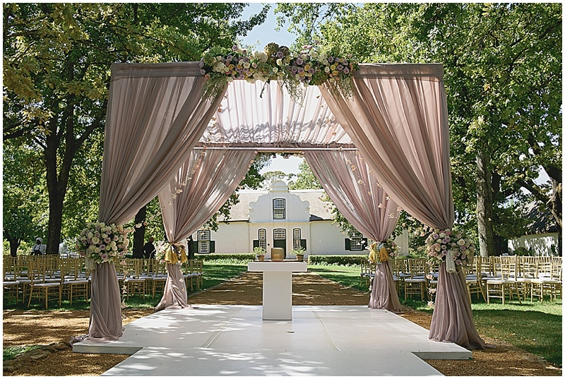 luxury Boschendal wedding ceremony