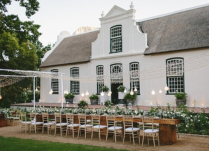 Outdoor wedding reception cape winelands