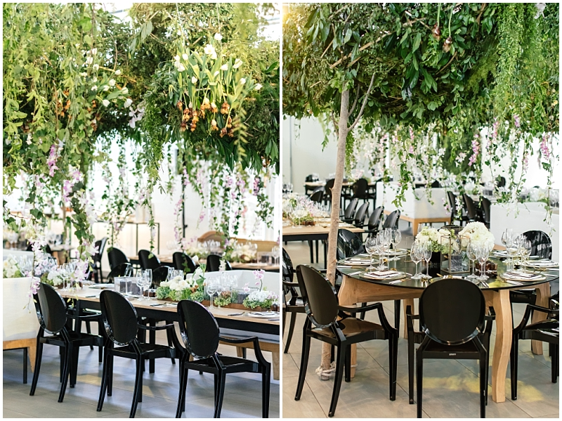 wedding decor trees and greenery modern