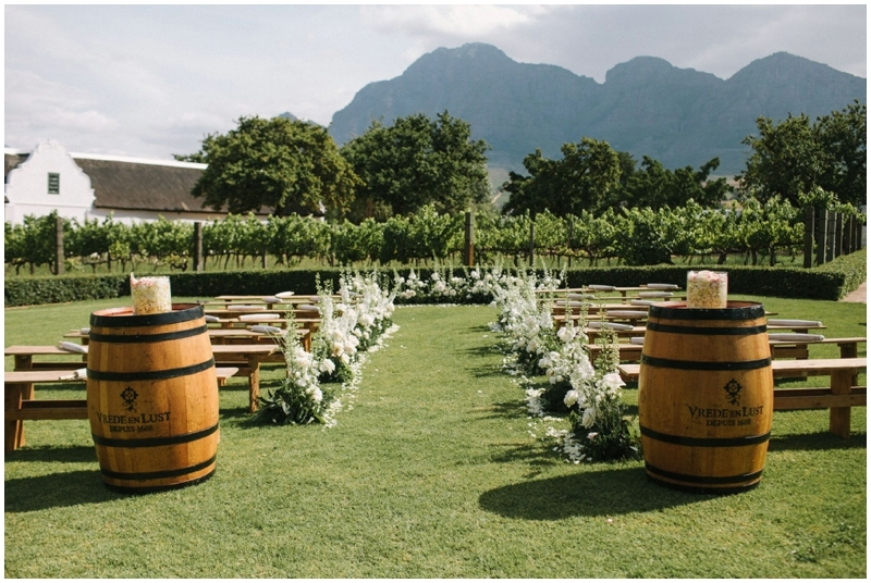 Flower Lined Aisle for Intimate Luxury Destination Wedding