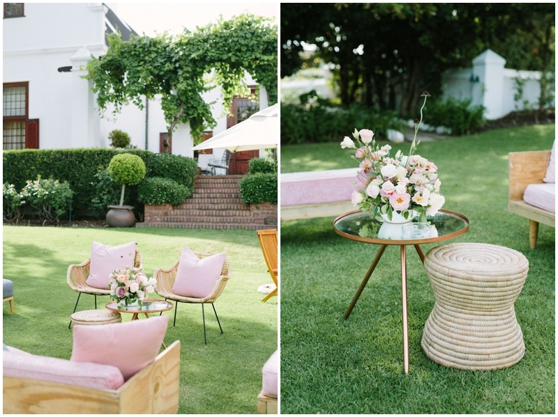 Blush Pink Outdoor Lounge Area