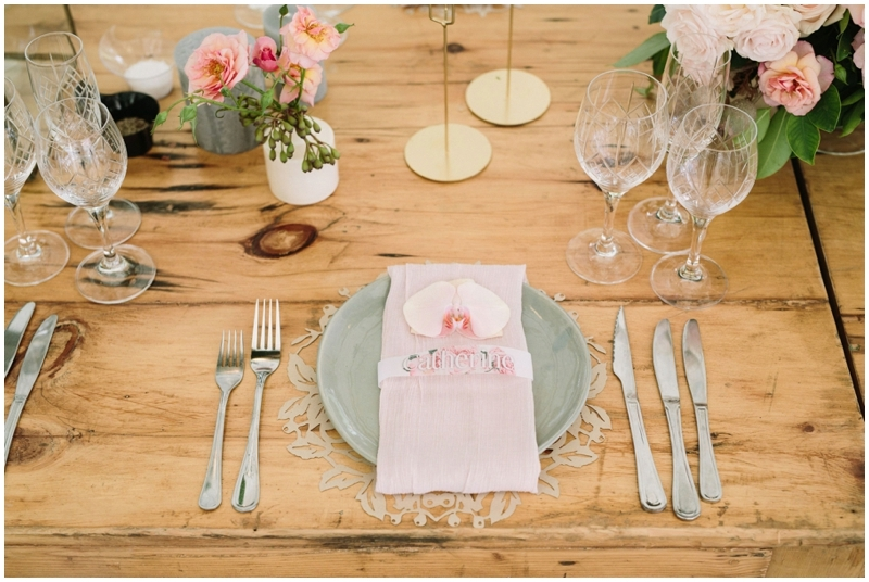 Textured Place Settings in Grey and Blush