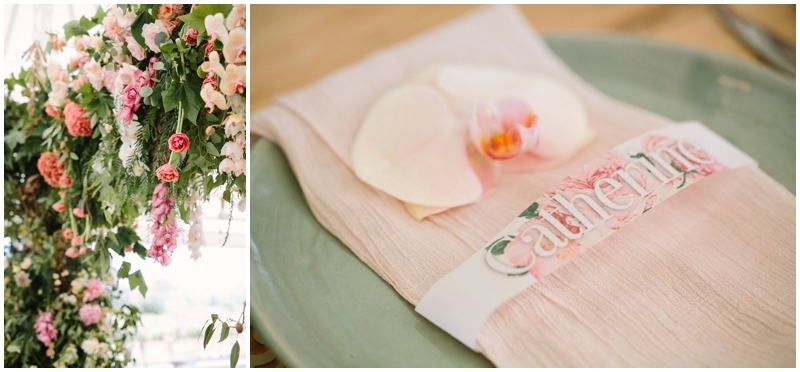 Laser Cut Floral Place Card and Silk Napkin