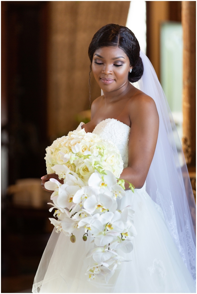 Beautiful Bride with White Orchid Bouquet