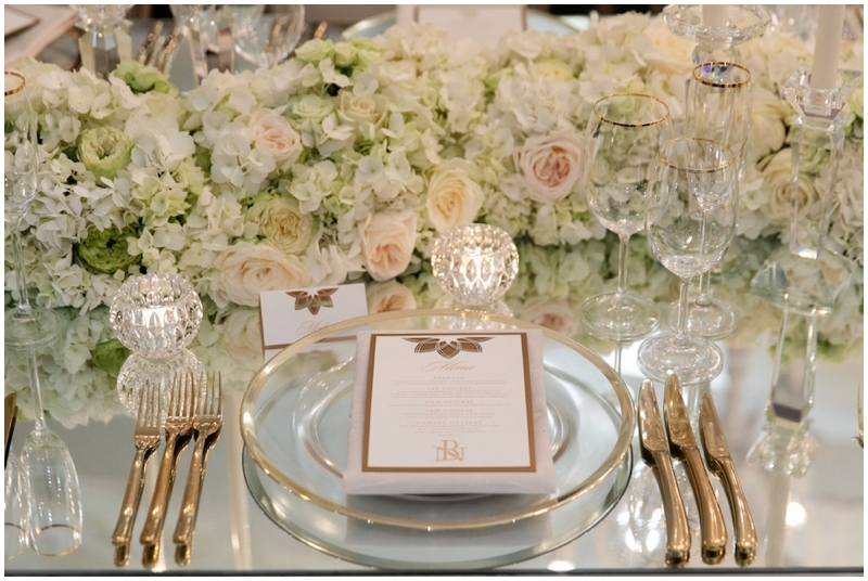 Luxury Designer Wedding Table Decor with Floral Runner