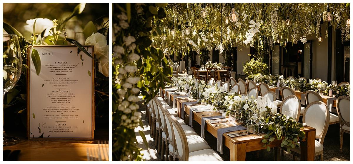 South African wedding destination reception decor