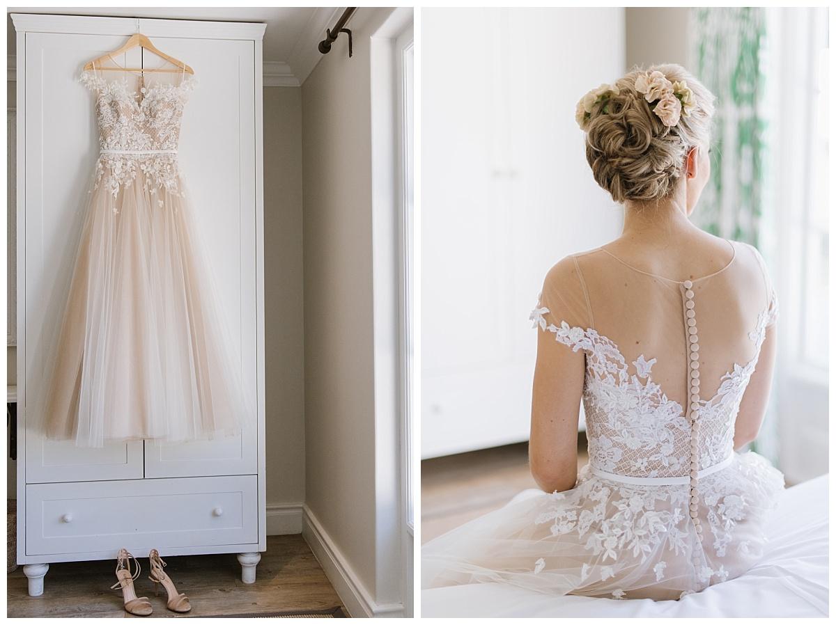 romantic blush lace wedding gown