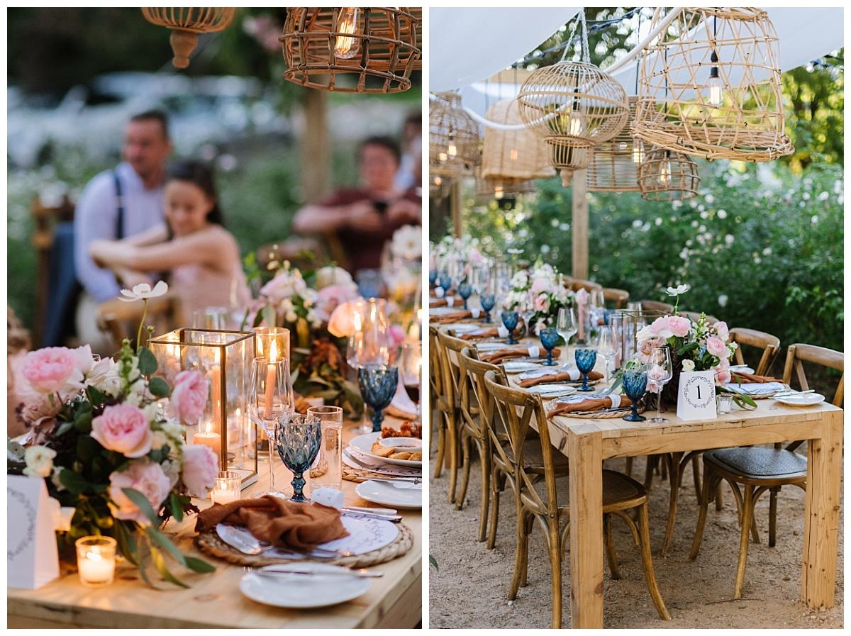 blue glassware on rustic wedding table