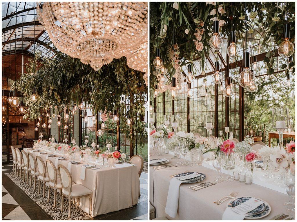 naked bulbs greenery and chandelier wedding