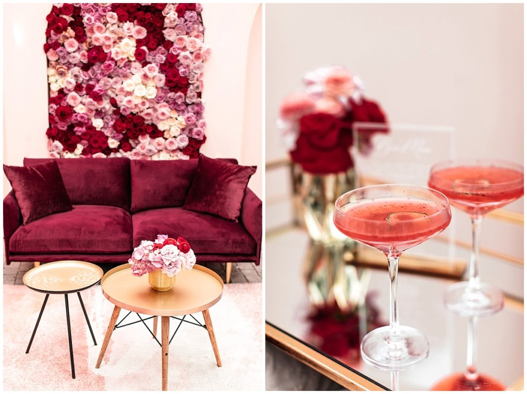 pink wedding floral wall pink cocktails