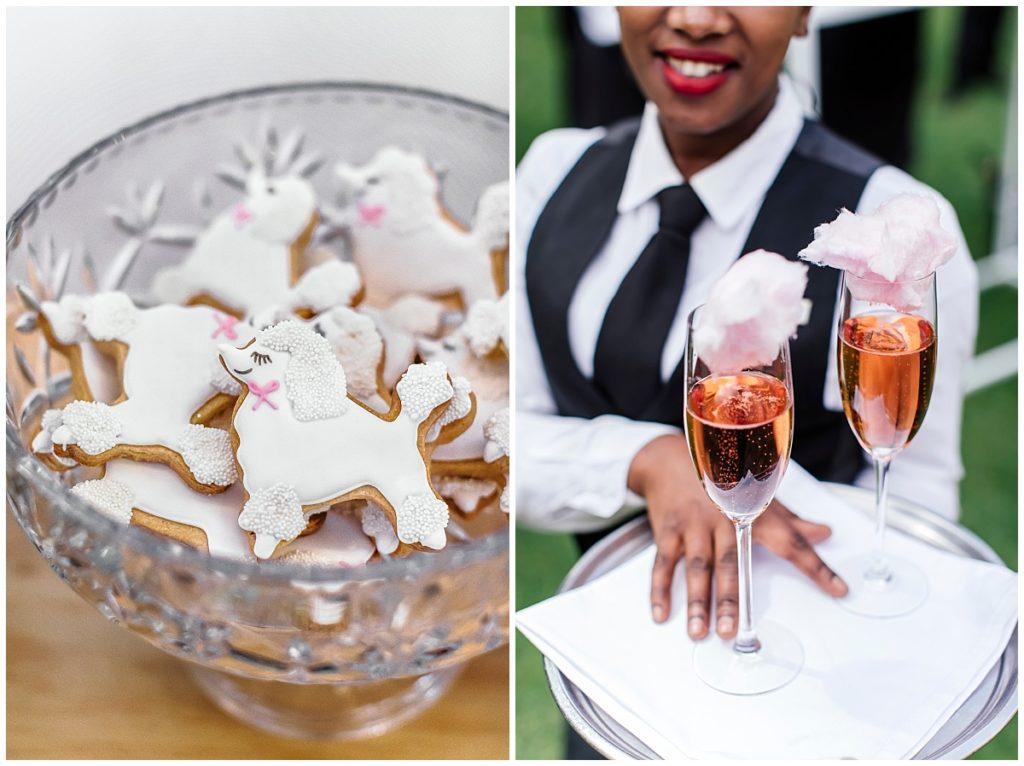 custom cookies champagne and candyfloss