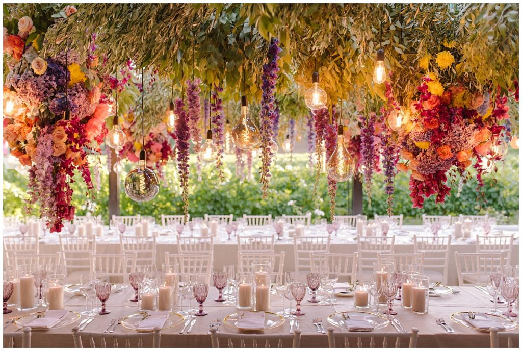 outdoor wedding with suspended florals