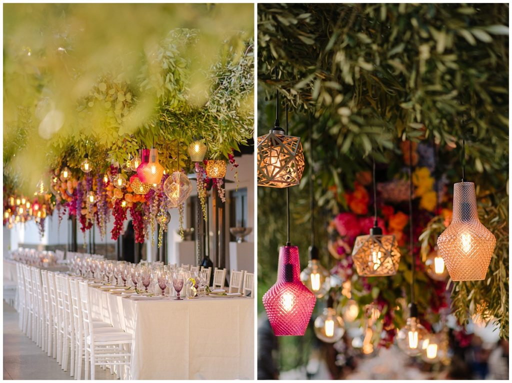 suspended greenery and florals and custom lighting features