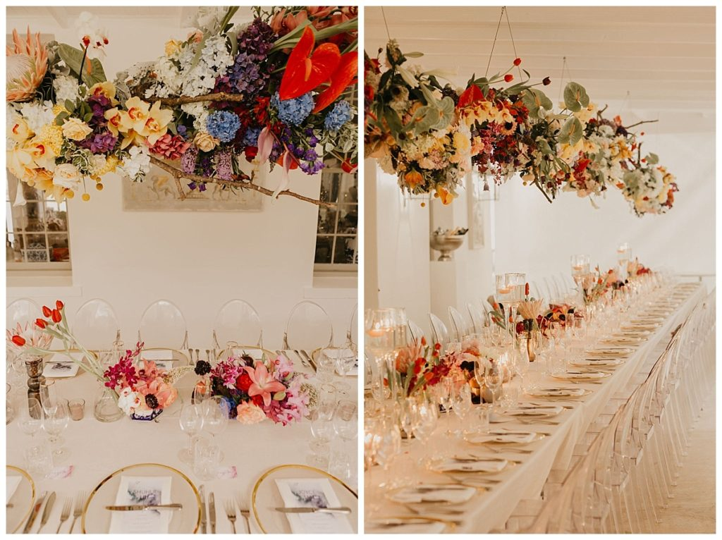 colourful wedding hanging flowers
