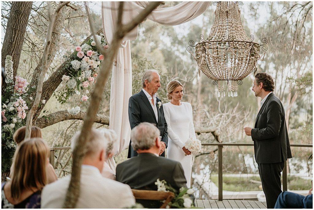 wedding ceremony outdoor chandelier