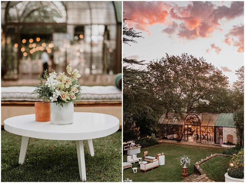 wedding conservatory sunset