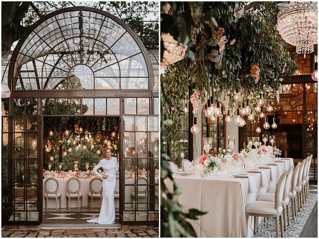 suspended greenery wedding decor