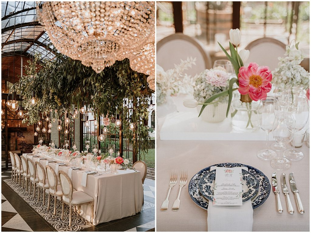 crystal chandeliers suspended floral