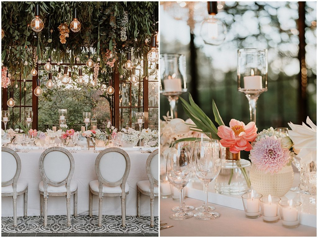 suspended greenery and floral marie antoinette chairs