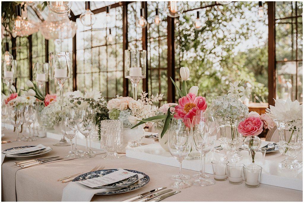 table decor pink peony