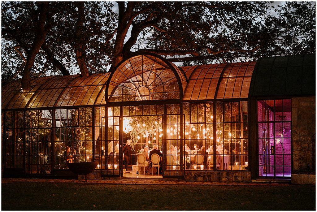 wedding conservatory at night
