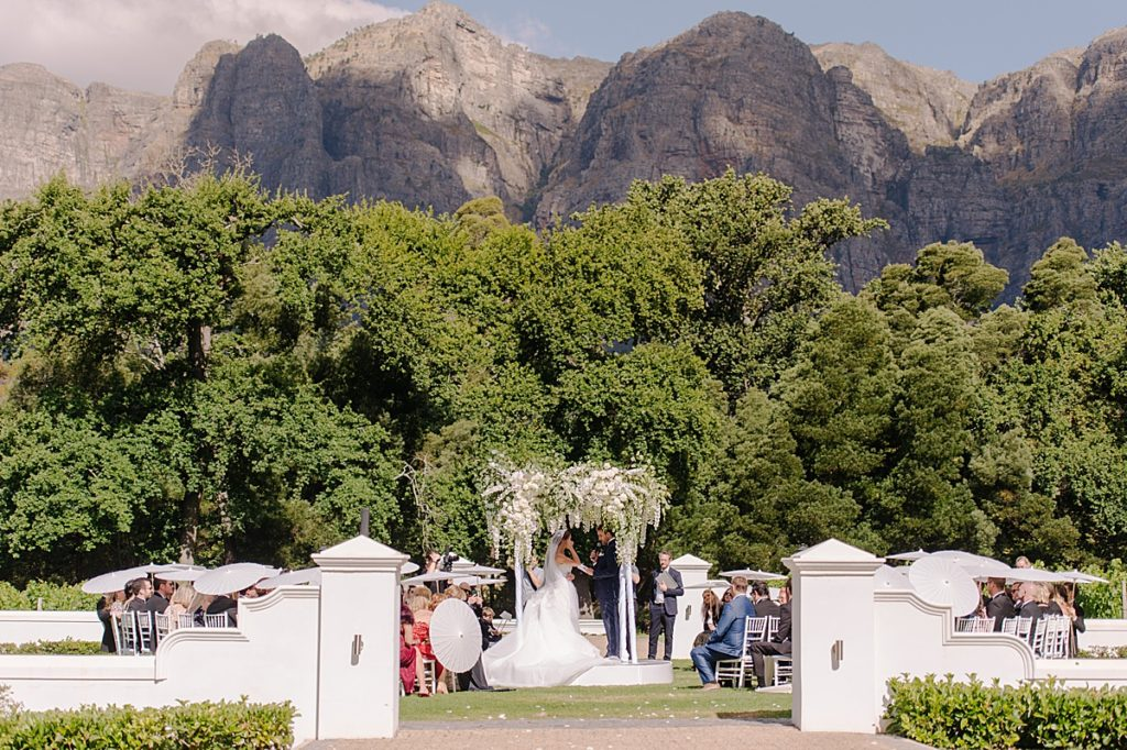 white wedding ceremony at molenvliet