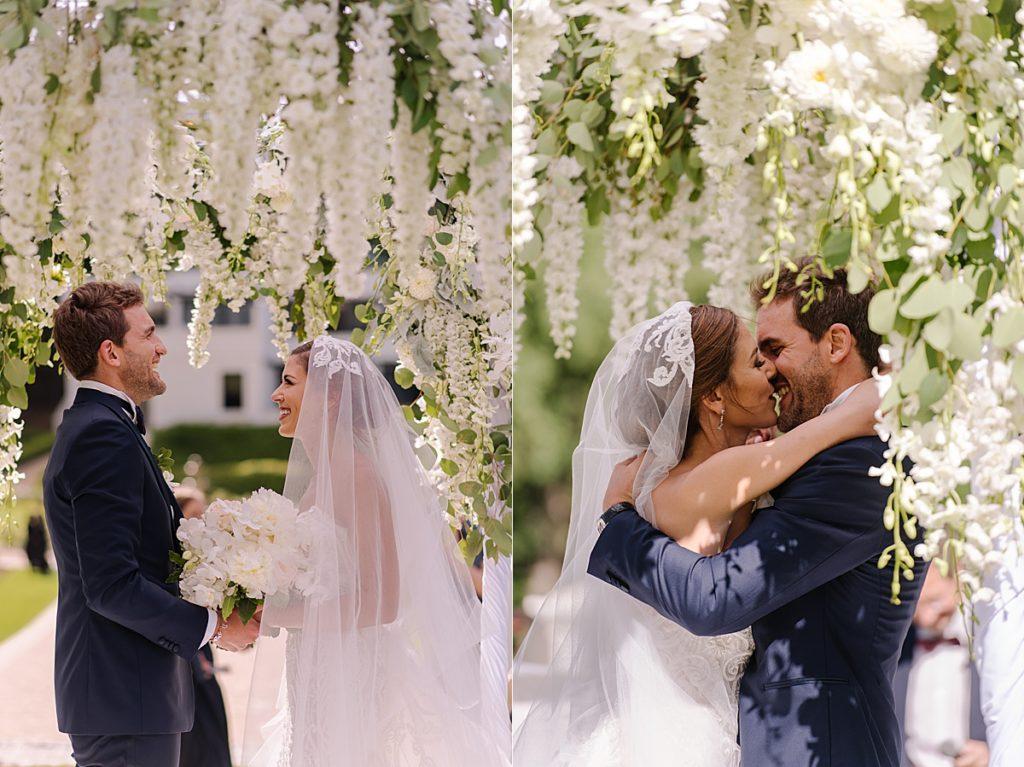 white floral wedding gazebo
