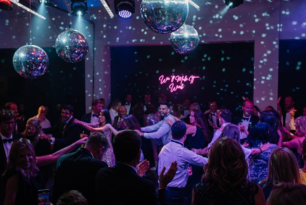 mirror ball wedding dance floor