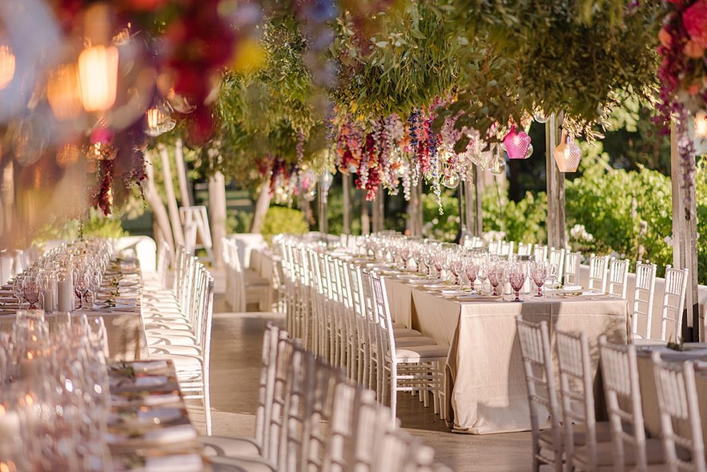 colourful suspended wedding flowers